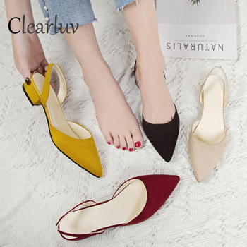 цена на Women's high-heeled shoes with pointed suede quality low-heeled shoes summer casual shoes 39 casual sandals new fashion