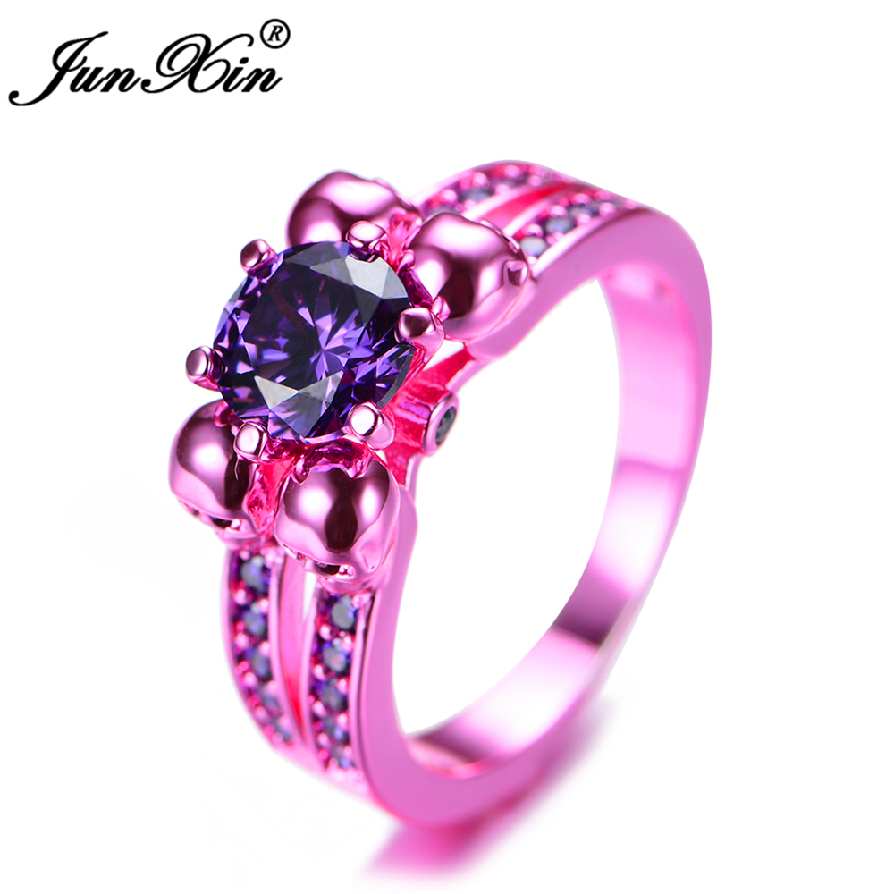 JUNXIN Retro Male Female Purple Skull Ring Fashion Pink Gold Filled ...