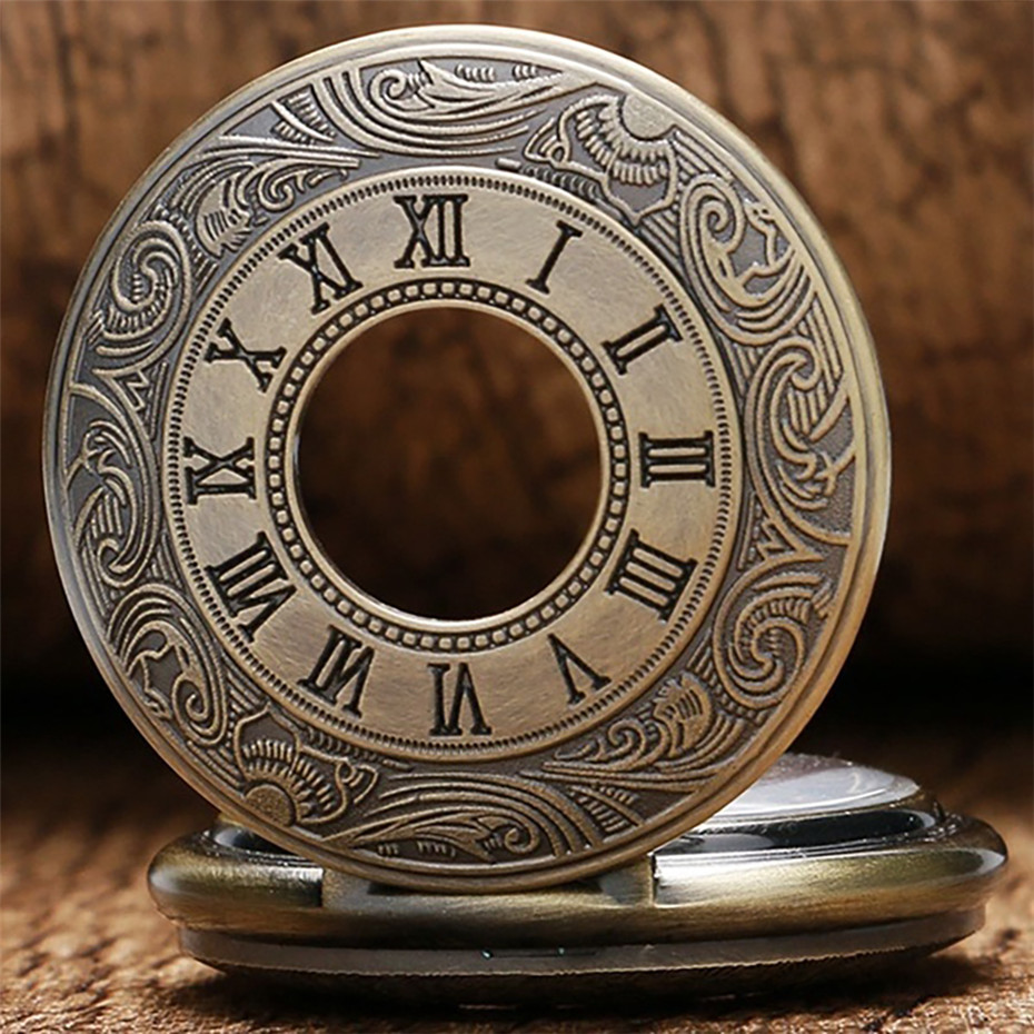 Bronze Roman Numerals Design Hunter Hand Winding Mechanical Watch Arabic Numerals Dial Retro Skeleton Pendant Clock Punk Chain
