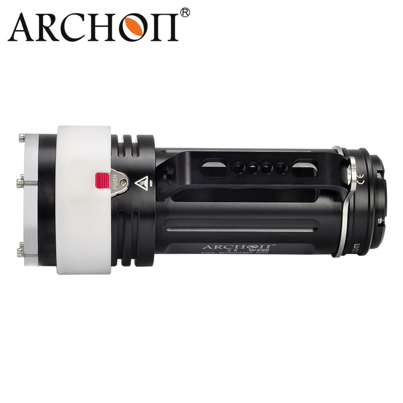 Купить с кэшбэком ARCHON DG90 Rechargeable Underwater Dive Torch Cree SST-90 2200lm 200M Waterproof Handle Diving Light with 18650 Battery pack