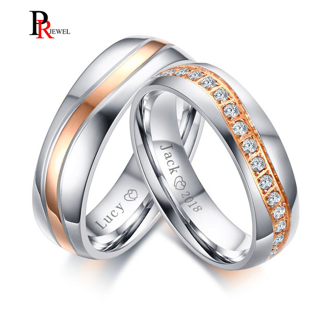 Sparkly Cz Stones Wedding Band Rings For Women Man Free Engraving Name Date Love Alliance