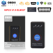 Herramienta de diagnóstico automático ELM327 V1.5 OBD2, WIFI, Bluetooth, compatible con IOS, Android, elm 327, obd 2, WI FI, obd2, escáner automotriz, 10 Uds.