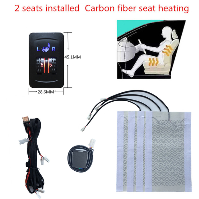 2 seats Carbon Fiber Heated Seat heating Heater Seat Covers warm heated seats Automobiles universal  12V 2 Dial 5 Level Switch