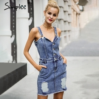 Simplee Sexy Strap Vintage Denim Dress Women V Neck High Waist Bodycon Dress 2017 Autumn Short