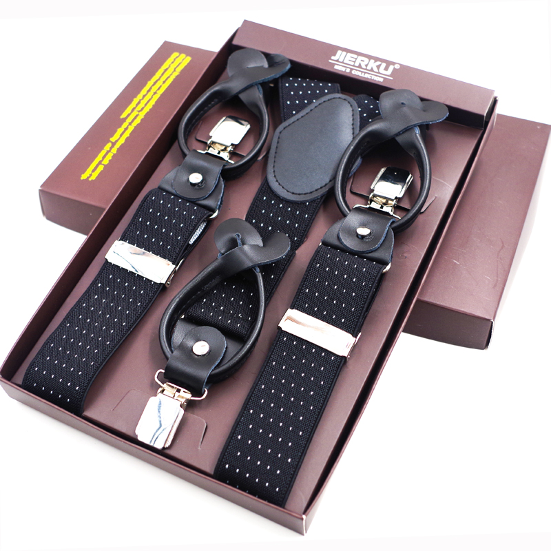 New Mans Suspenders Leather Button Brace Strap Fashion suspensorio Adjustable Belt Ligas Tirantes with Color Box 3.5*120cm