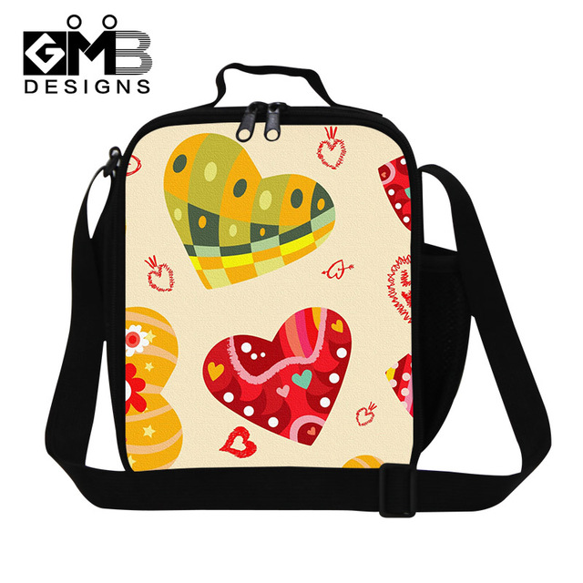 Cute Reusable lunch Bags for Women,Heart Printed Lunch Container for Girls School,Children Small Picnic bag with shoulder strap