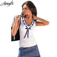 Awaytr New Fashion 2016 Spring Summer Women Casual Bow Shirts High Quality Sleeveless V Neck White
