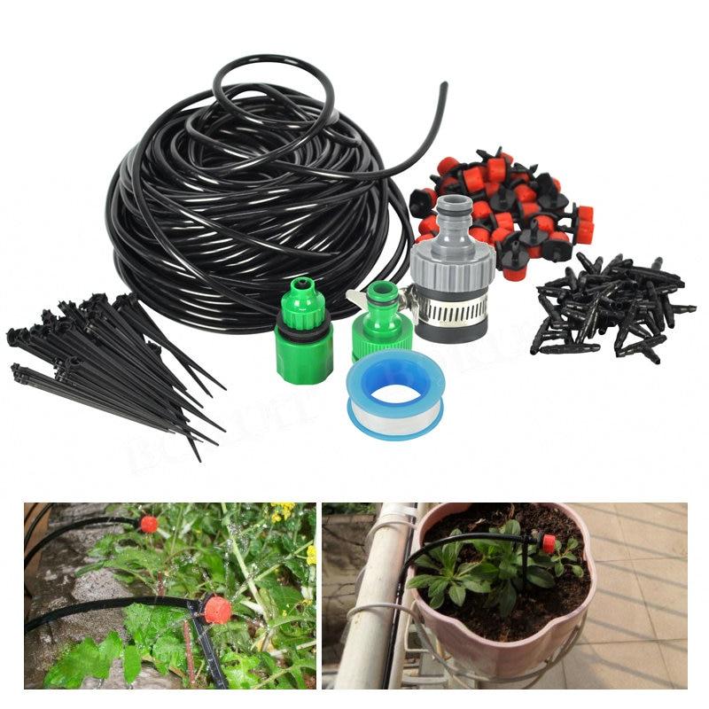 10-25M MICRO IRRIGATION KIT DRIP WATERING SYSTEM GREENHOUSE PLANTS GARDEN TOOL