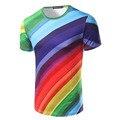 Nueva Llegada de Los Hombres de Impresión 3D Rainbow Fashion T-shirt de Manga Corta Masculina Casual Slim fit O Cuello night Club Top Tees Alta Calidad estilo