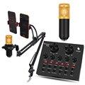 Профессиональный конденсаторный микрофон для караоке V8, аудиогарнитура, микрофон, аудиокабель, проводной микрофон для компьютера