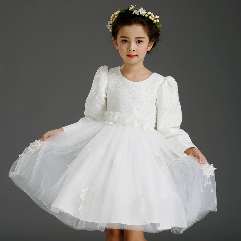 Children's Girls Autumn Long-sleeved Korean Lace Princess Dress Kids Clothing Mesh Lace White children s girls autumn long sleeved korean lace princess dress kids clothing mesh lace white