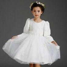 Дети девушки Осень С Длинными рукавами Корейский Шнурок Платье Принцессы Детская Одежда Сетки Кружева Белый