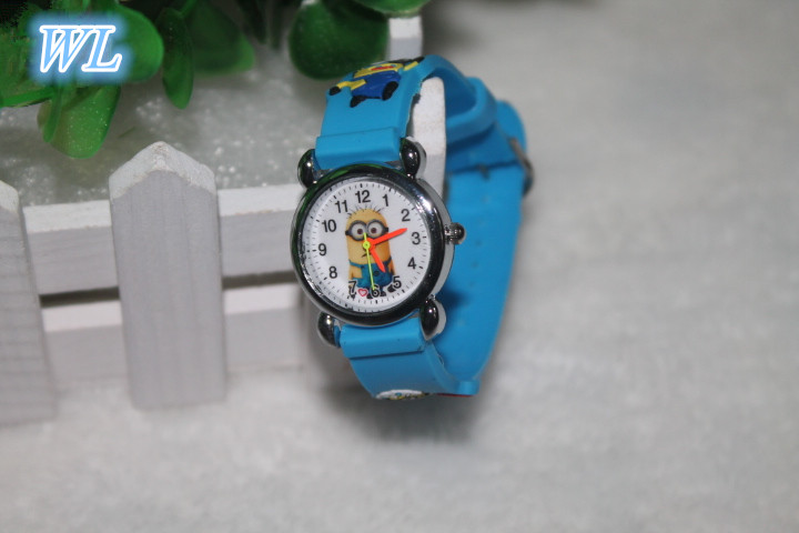 Free Drop Shipping Retail Hot Sales Cut 3D Cartoon Minion Kids Children Boys Girls Gifts Watch Quartz Silicone Wristwatch hot hothot sales colorful boys girls students time electronic digital wrist sport watch free shipping at2 dropshipping li