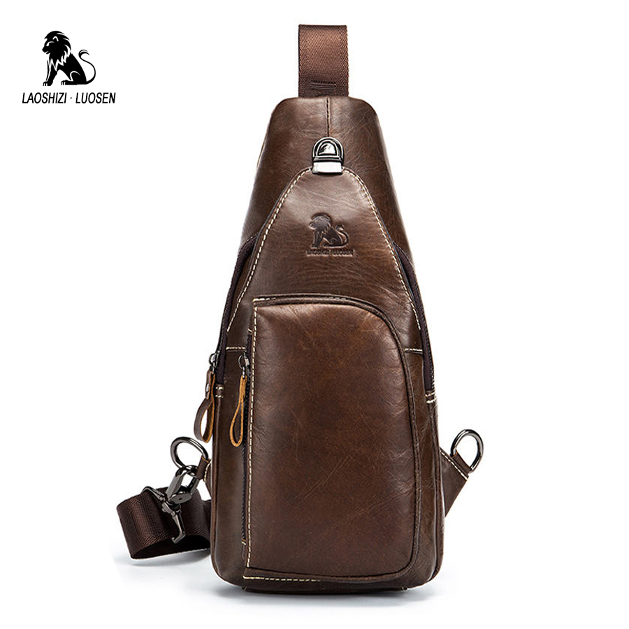 LAOSHIZI LUOSEN Shoulder Bag Small Men Genuine Leather Chest Pack Crossbody Single Strap Sling Bag Male Messenger Bag Vintage augur 2018 men chest bag pack functional canvas messenger bags small chest sling bag for male travel vintage crossbody bag