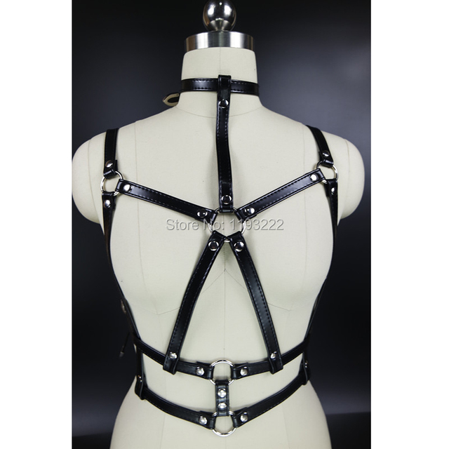 Up Up Push Up Handmade Leather Harness Punk Gothic Halter Choker Bra Caged Body Bondage Sculpting Belt Straps