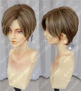 Image 2 - Movie Biohazard Leon Scott Kennedy Short Brown Color Highlights Styled Heat Resistant Hair Cosplay Costume Wig + Free Wig Cap