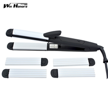Best price 4 Files 3-In-1 Ceramic Coating Hair Curler Straightener + Hair Corn Curling Iron +Hair Straightener Crimper Fluffy Styling Tool
