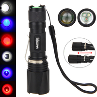 Tactical Waterproof Flashlight Zoomable White Red UV Purple Lamp 3X XPE LED Flashlight Torch Hunting