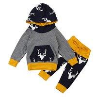 Grau Farbe 2017 Schöne 2 Stücke Neugeborene Jungen Mädchen Deer Hoodie Tops + Pants Outfits Kleidung Set Dropshipping ST28