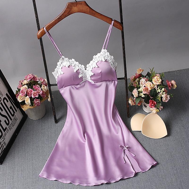 Women Nightgowns Sexy Satin Sleepwear Silk Nightwear Spaghetti Strap Lace Nightgowns Sleepshirts Sleep & Lounge with Chest Pads