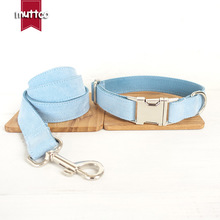 New Arrival Hot MUTTCO Handmade High Quality Collar Fashionable Light Blue Simple Design Dog Collars And Leashes Set 5 Sizes