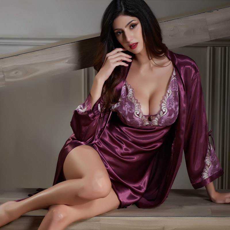 Xifenni халат наборы Женский Искусственный шелк пижамы женский атласный шелковый халат ночной комплект красный сексуальный глубокий v-образны...