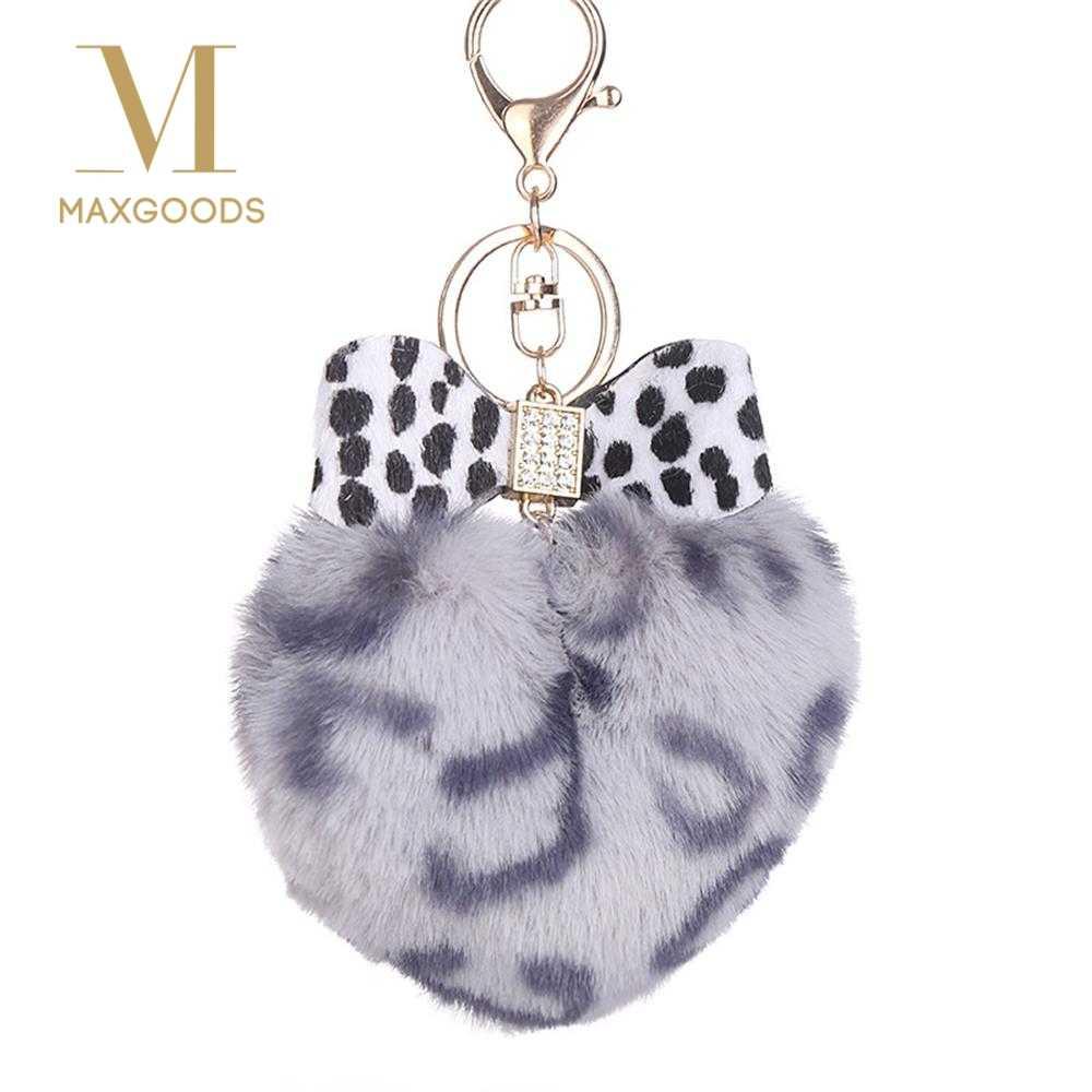 Coração Do leopardo Borboleta Arco Pompom Keychain Chave Titular Anel Chave Do Falso Pele De Coelho Pom Pom Fofo Mulheres Bolsa Pingente Chaveiro