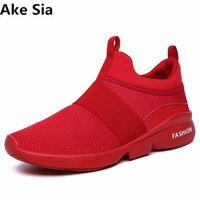Ake Sia 2017 modelos de otoño de los nuevos hombres ocasionales zapatos respirables netos zapatos de Los Hombres Zapatos Cómodos de los hombres Negro/Blanco/Color Rojo