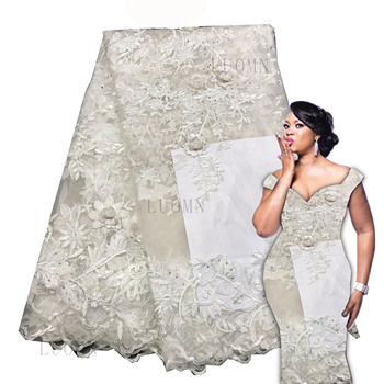 2019 High quality african french 3d lace fabric stones Embroidered African Guipure French Lace Fabric for party dresses AMZ