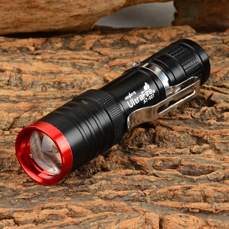 UltraFire AT-007 80lm 3-Mode White Zooming Flashlight with XP-E Q5 - Black (1 x 14500 / AA) ultrafire luminus 3w led 100lm 3 mode white zooming flashlight black red 1 x 14500 aa
