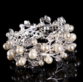 Beautiful bridal jewelry white crystal clear rhinestones faux pearl cuff bracelet fashion wedding bangles bracelet 1pc/lot