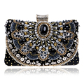 2016 Hot Sale Small Beaded Clutch Purse Elegant Black Evening Bags Wedding Party Clutch Handbag Metal Chain Shoulder Bags
