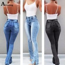 Plus Size S-3XL Jeans Women Flare Pants Casual Hole 2019 New Womens Jeans Denim Regular Jeans Pockets Trousers Women Streetwear