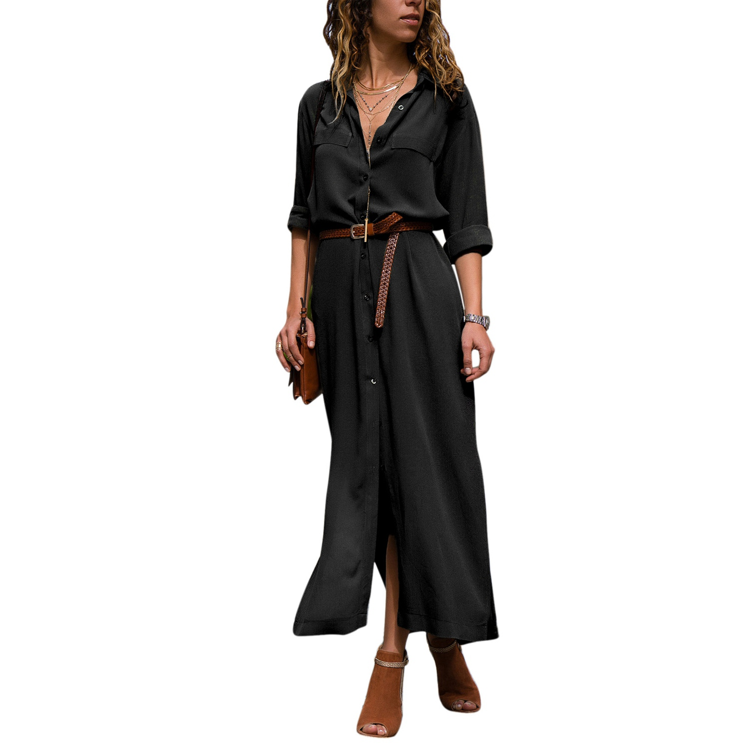Women Lapel Long Sleeve Button Shirt Maxi Dress Casual Loose Solid Color Slit Long Shirt Dress