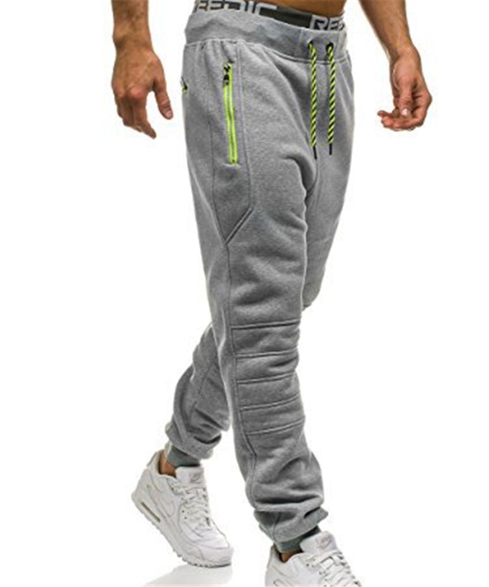 Sweatpants Men Zipper Pockets Solid Color Pantalon Hombre Casual Trousers Men Clothes 2018 Joggers Pants Man Fashion Street Wear
