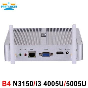 Partaker B4 4K Kodi HTPC Mini PC Intel Core I3 4005U I3 5005U N3150 Windows 10 Barebone Max 8G RAM 512G SSD 1TB HDD Free WiFi