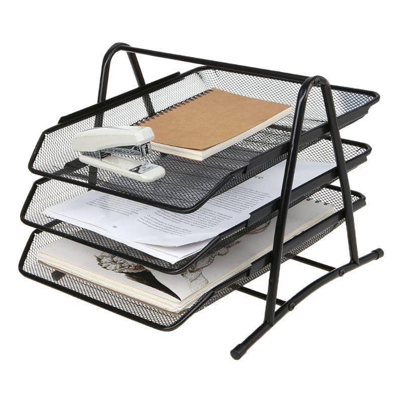 3 Tier Metal Mesh Document Rack File Holder Letter Tray For Home Office Desk Organizer Supplies L29K