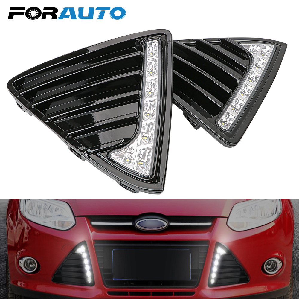 2Pcs/Set Car Daytime Running Lights Fog Lamp DC 12V Auto LED DRL Daylight Waterproof For Ford Focus 3 MK3 2012 2013 2014 White floss surface ladder shape drl led daytime running lights for 2012 ford focus