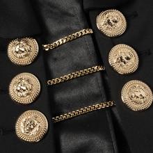 HIGH QUALITY Newest Fashion 2017 PARIS Fashion Designer Blazer Women's Lion Buttons Chain Link Blazer Outer Coat