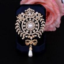 06cf83d648e baiduqiandu Large Size Silver / Gold Color Plated Clear Crystal Rhinestones  Bow Drop Brooch Pins Jewelry