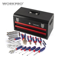 WORKPRO 76PC Home Tool Set Heavy Duty Metal Box Household Tool Kits