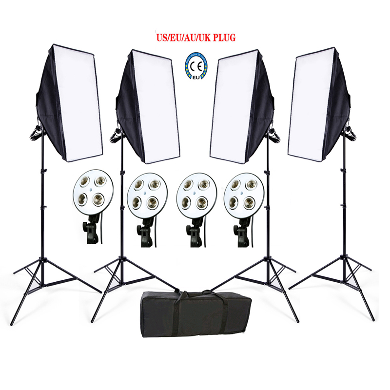 Photo Studio Softbox kit 4 light stand 4 light holder 4 softbox 1pc carrying bag video lighting kit soft box  portable photo studio 4 photographic backgrounds 1 camera stand 2 halogen lights w carrying bag