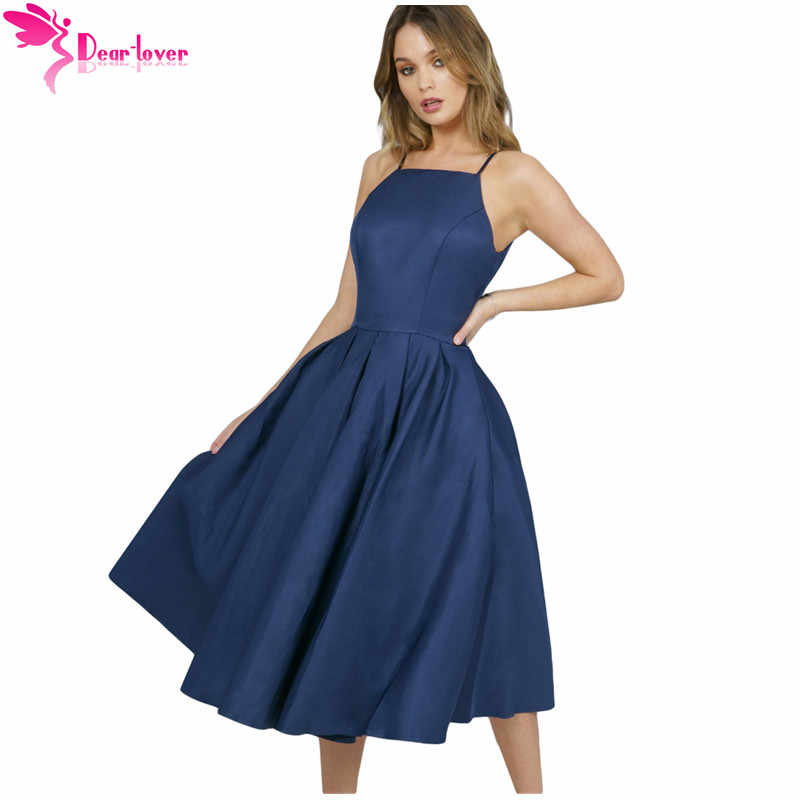 86ac3a424a Dear Lover A Line Dress Elegant Summer Party Navy Blue Spaghetti Strap High  Neck Midi Dress