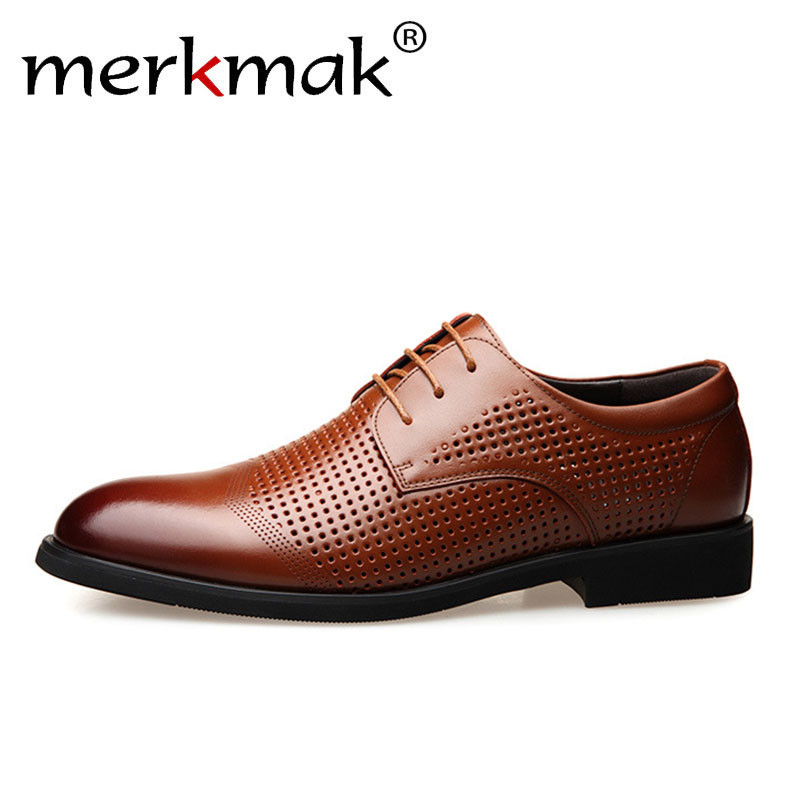 Merkmak Men Dress Shoes Genuine Leather Hollow Out Oxfords Shoes Formal Men Wedding Party Brogue Shoes Business Leather FootwearMerkmak Men Dress Shoes Genuine Leather Hollow Out Oxfords Shoes Formal Men Wedding Party Brogue Shoes Business Leather Footwear