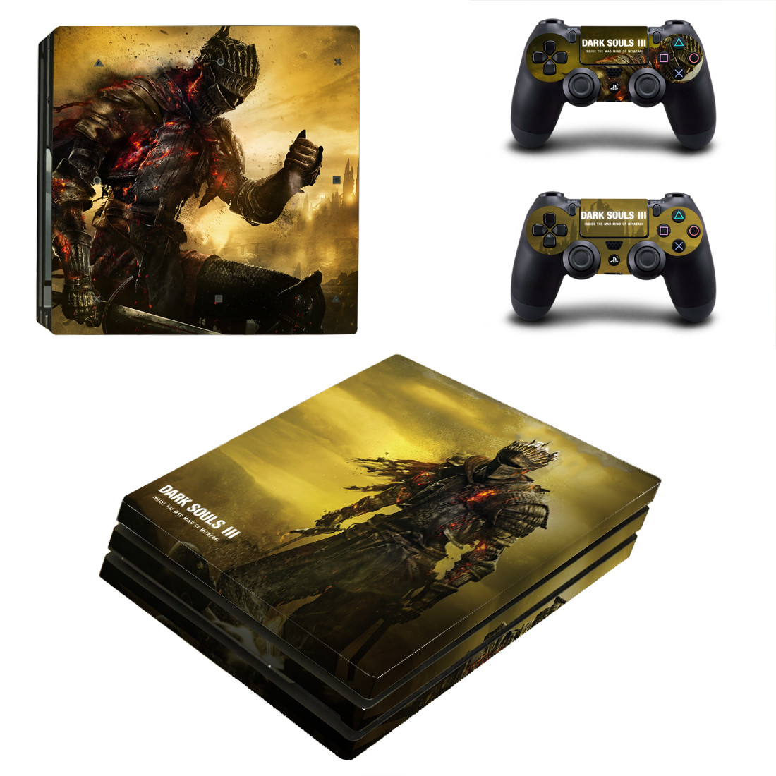 Dark Souls 3 PS4 Pro Stickers Play station 4 PS 4 Pro Skin Sticker Decal Cover For Sony Playstation 4 Pro Console and Controller(China)