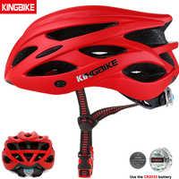 KINGBIKE Männer Fahrrad Helm Ultraleicht Straße MTB Mountainbike Radfahren Helm Mit Zurück Licht casco ciclismo 56-63CM rot Helmes