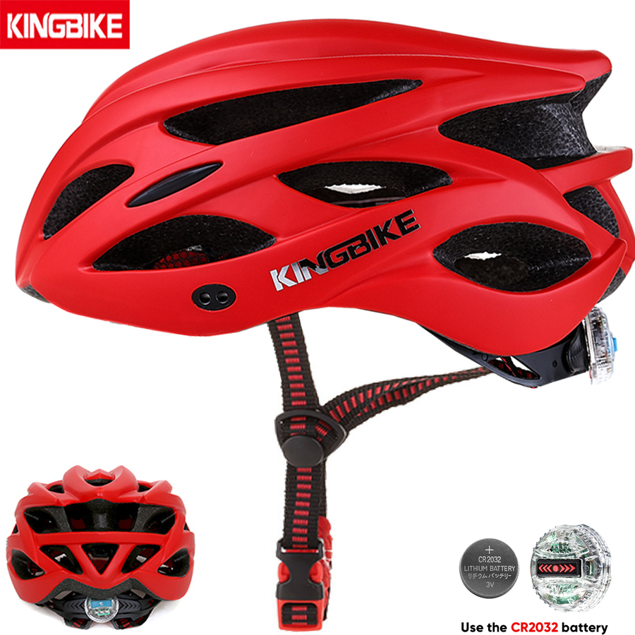 KINGBIKE Men Bicycle Helmet  Ultralight Road MTB Mountain Bike Cycling Helmet With Back Light casco ciclismo 56-63CM Red Helmes