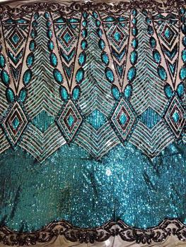 Best Selling African Lace Fabric ZH-7375  Nigerian French Fabric with sequins High Quality lace fabric