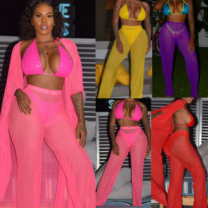 6 Color Solid Mesh Pants Women Bikini Cover Up Pants 2019 Summer Plus Size High Wiast Beach Bathing Suit Mesh Sheer Trousers