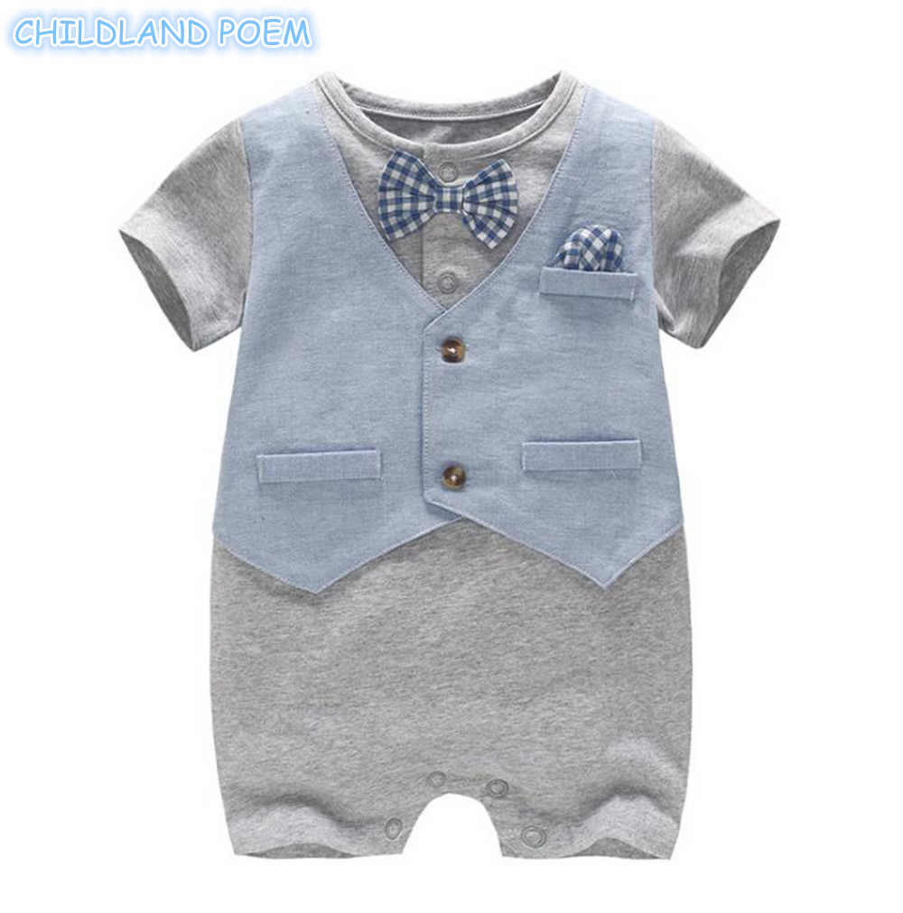 Newborn Baby Boys Romper Summer Infant Boys Clothes Gentleman Romper For Boys 1st First Birthday Party Baby Jumpsuit With Bow